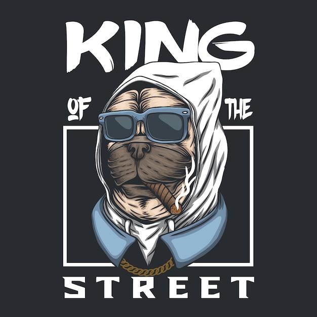Pug cão rei da rua Vetor Premium