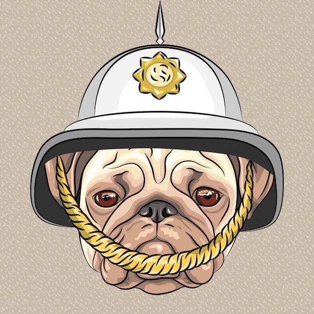 Pug de cão engraçado dos desenhos animados de vetor no capacete britânico Vetor Premium