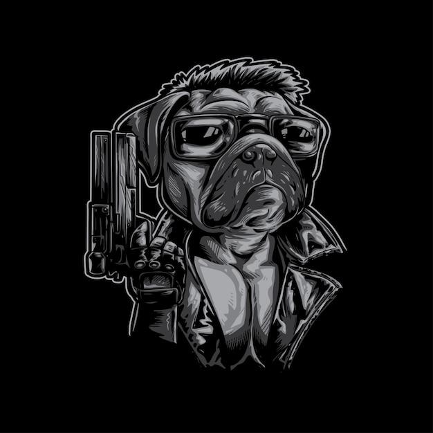 Pug dog assasin Vetor Premium