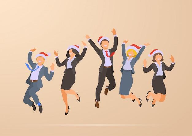 Pulando dançando feliz escritório de negócios pessoas natal festa corporativa ilustração de férias Vetor grátis