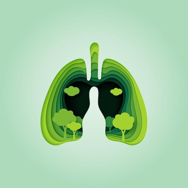 Pulmão e coração do estilo da arte do papel de conceito da natureza. Vetor Premium