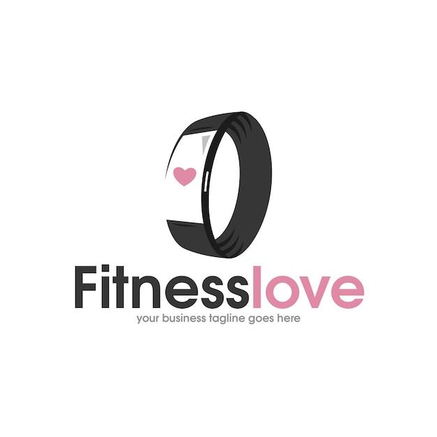 Pulseira fitness logo Vetor Premium