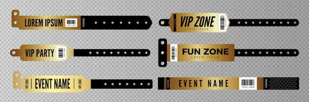 Pulseiras para eventos. chave de entrada dourada para festa, concerto, bar discoteca. pulseiras de entrada em fundo transparente Vetor Premium