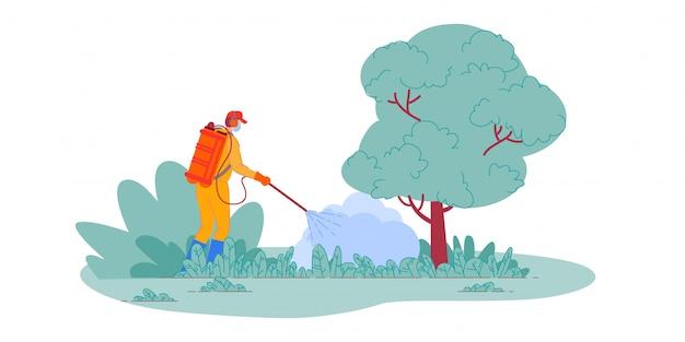 Pulverização de pesticidas. agricultor pulverização de pesticidas em plantas no jardim. homem de trabalhador de controle de pragas com equipamento de pulverização. pulverizador de inseticida tóxico, agricultura Vetor Premium