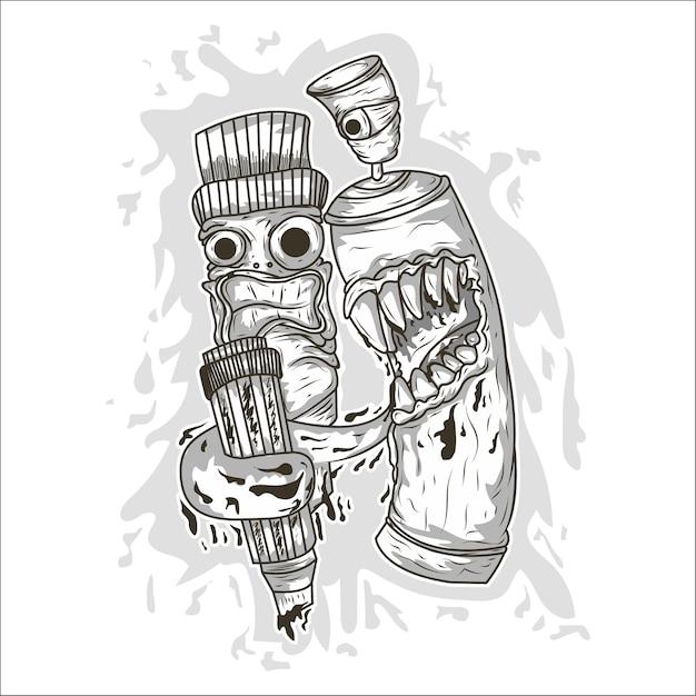 Pulverizador de graffiti de vetor dos desenhos animados Vetor Premium