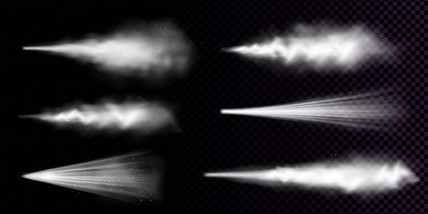 Pulverizador de poeira branca isolado em fundo transparente. conjunto realista de fumaça ou pó com respingos de partículas de aerossol, jato de spray cosmético, fragrância ou desodorante Vetor grátis