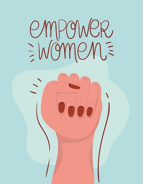 Punho da mão do empoderamento das mulheres. ilustração do conceito feminista de poder feminino Vetor Premium