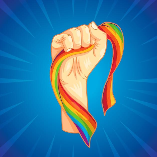 Punho forte e bandeira do arco-íris Vetor grátis