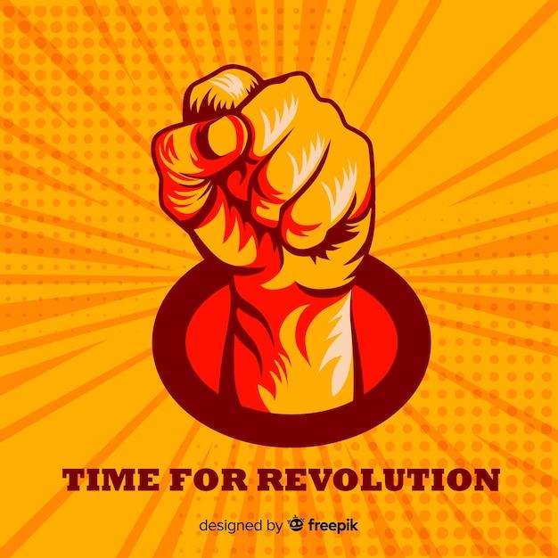 Punho levantado para a revolução Vetor Premium