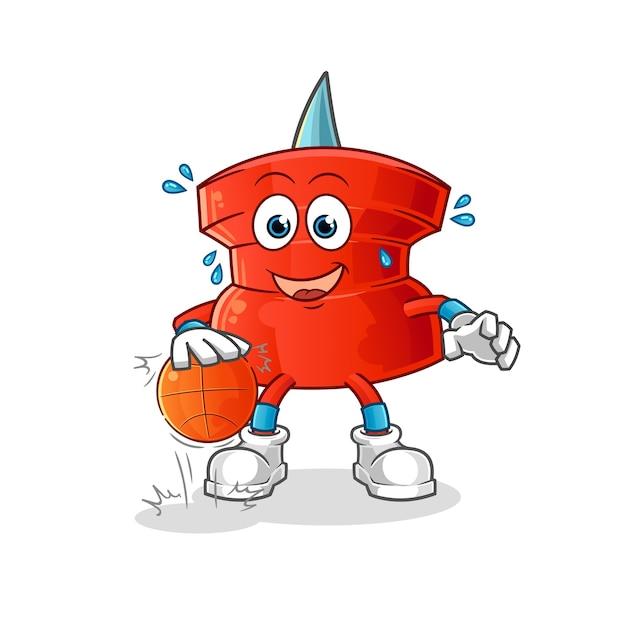Push pin driblar o personagem de basquete. mascote dos desenhos animados Vetor Premium