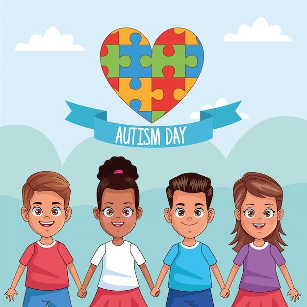 Puzle dia mundial do autismo com quebra-cabeça de coração Vetor Premium