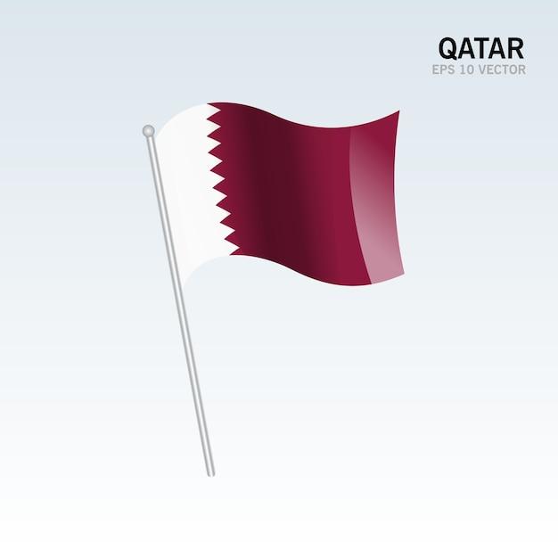 Qatar acenando bandeira isolada em fundo cinza Vetor Premium