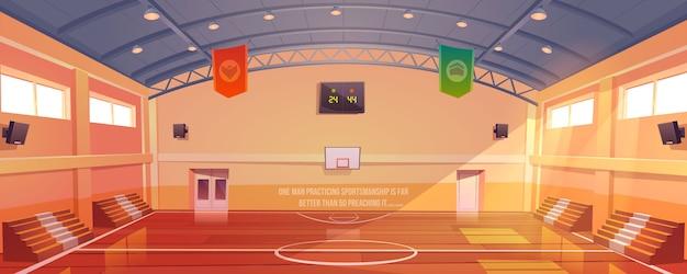 Quadra de basquete com aro, tribuna e placar Vetor grátis