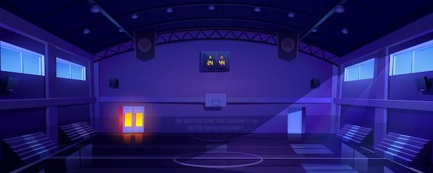 Quadra de basquete vazio interior escuro, estádio Vetor grátis