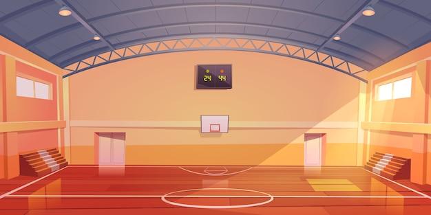Quadra de basquete vazio interior, estádio indoor Vetor grátis