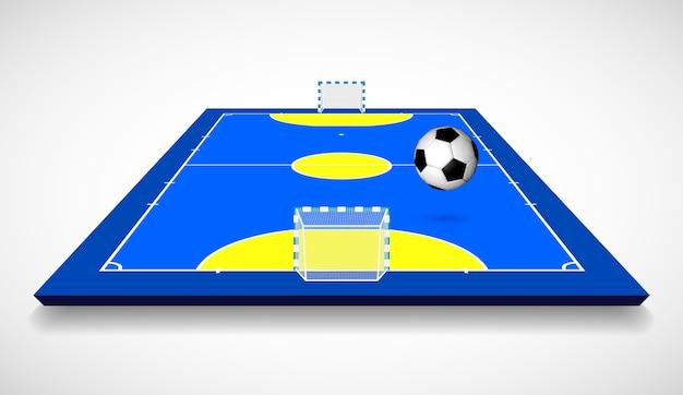 Quadra de futsal ou campo com ilustração da vista em perspectiva da bola. Vetor Premium