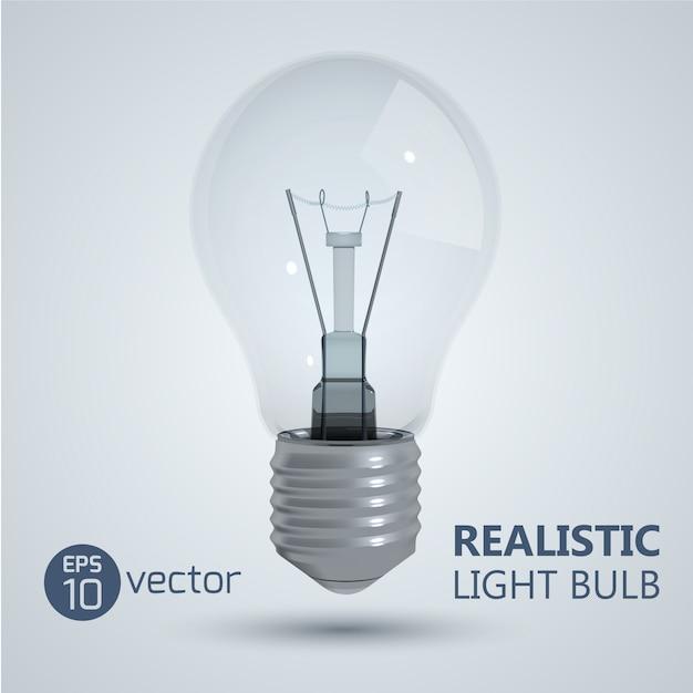 Quadrado com imagem realista de lâmpada de filamento isolada pendurada no vácuo com sombra e ilustração de título editável Vetor Premium