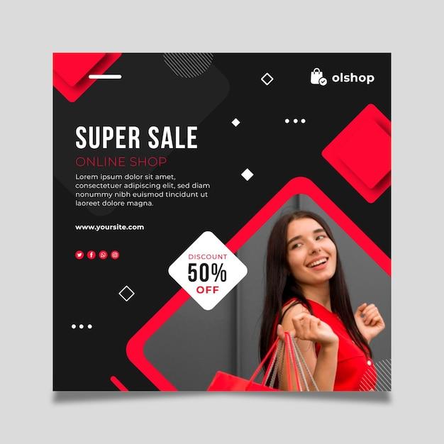 Quadrado de folheto de compras online Vetor grátis