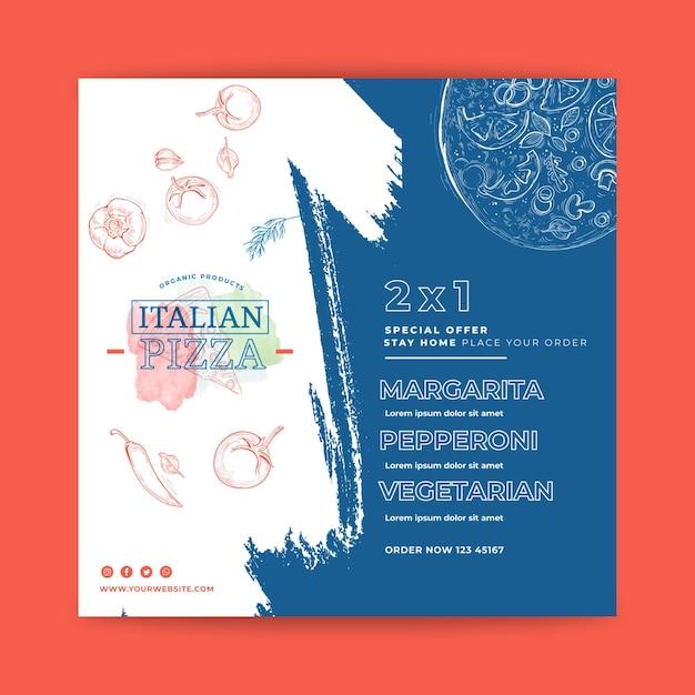 Quadrado de panfleto de comida italiana Vetor Premium