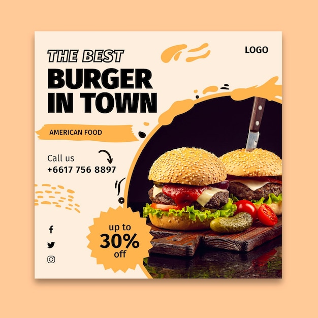 Quadrado panfleto de comida americana Vetor Premium