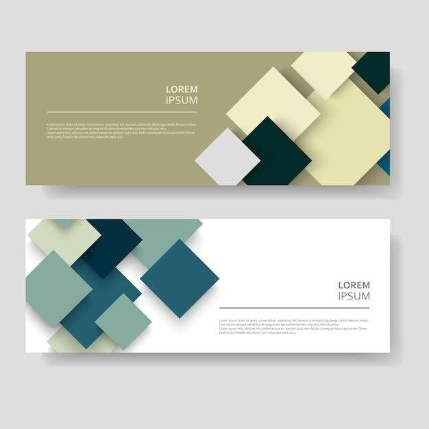 Quadrados abstratos modernos banner conjunto Vetor Premium