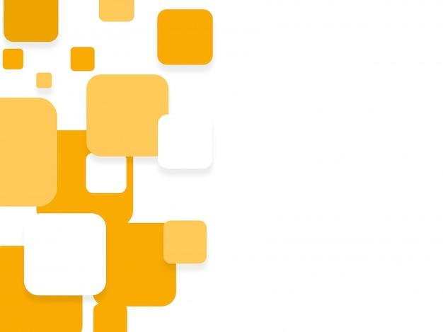 Quadrados planos brancos e amarelos na moda, fundo abstrato para design de folhetos, folhetos ou apresentações. Vetor grátis