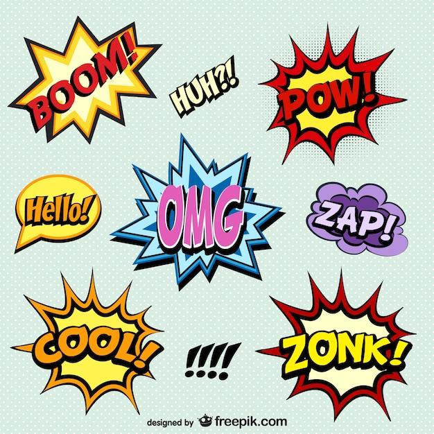 Quadrinhos palavras onomatopéia Vetor grátis