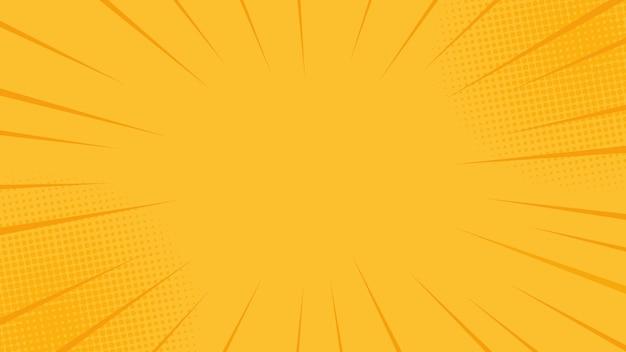 Quadrinhos raios fundo com meios-tons. cenário de verão amarelo. no estilo retrô pop art Vetor Premium