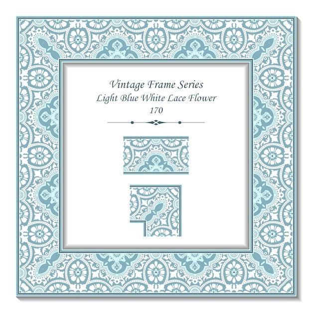 Quadro 3d vintage de flor de renda branca azul claro Vetor Premium
