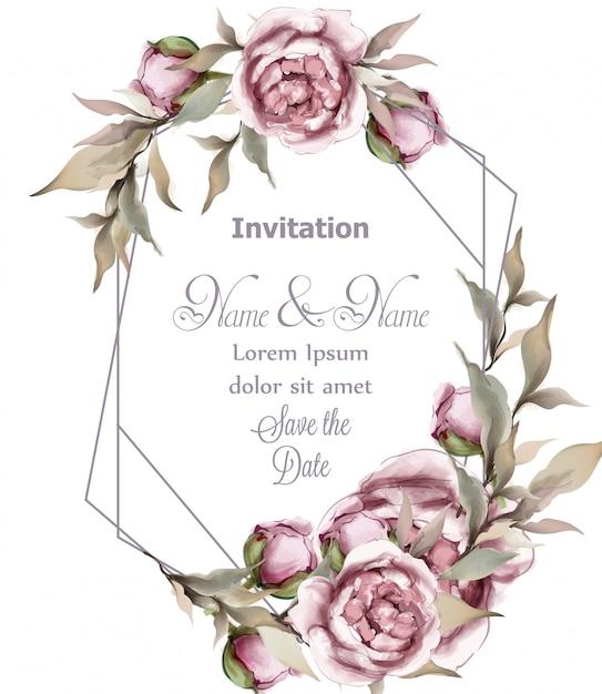 Quadro abstrato delicado de rosa Vetor Premium