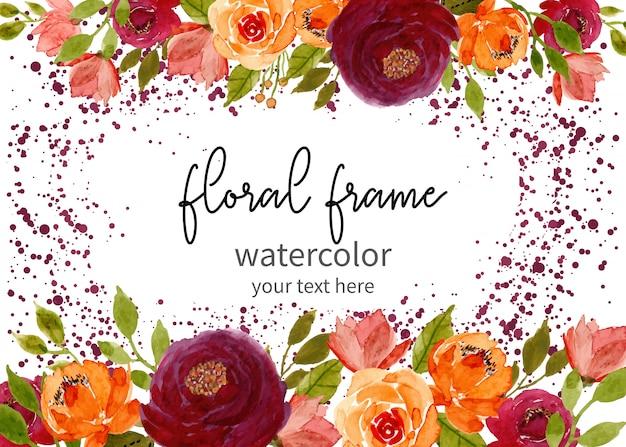 Quadro aquarela floral com fundo de pontos Vetor Premium