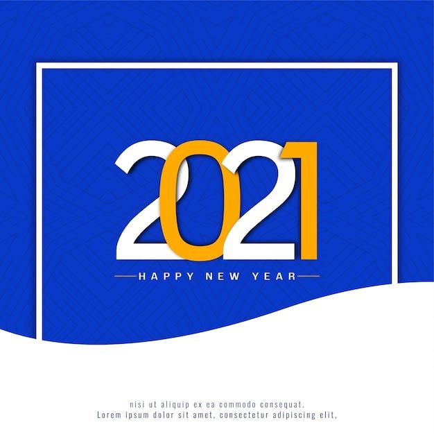 Quadro azul feliz ano novo 2021 Vetor grátis