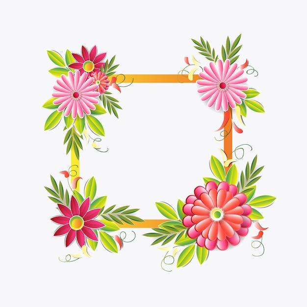 Quadro bonito das flores isolado. elemento de decoração floral colorido Vetor Premium