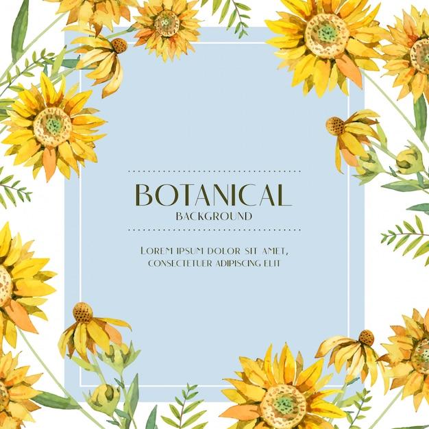 Quadro botânico de aquarela girassol amarelo Vetor Premium