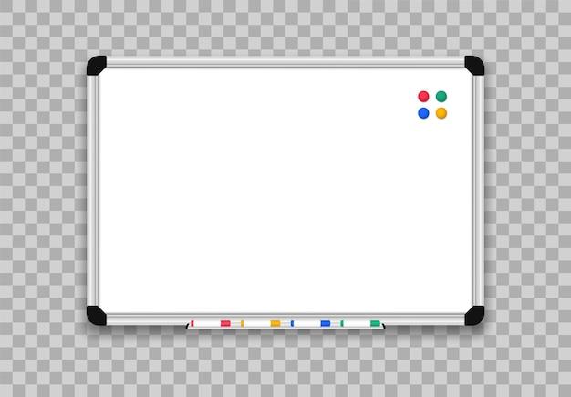 Quadro branco realista. placa de escritório com canetas hidrocor. Vetor Premium