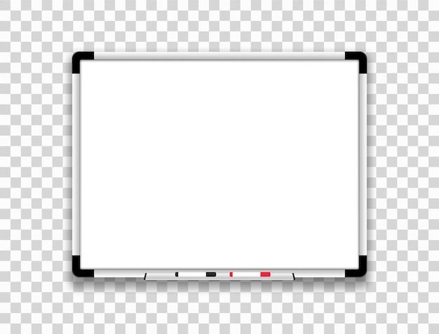 Quadro branco realista. quadro magnético branco. Vetor Premium