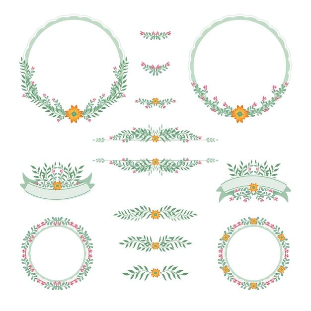 Quadro casamento design floral vintage Vetor Premium