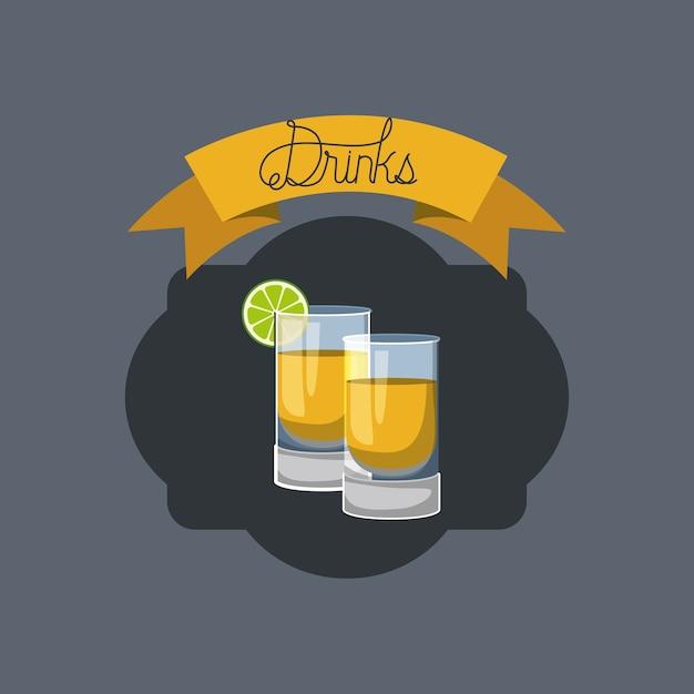 Quadro cocktail fresco e tropical Vetor Premium