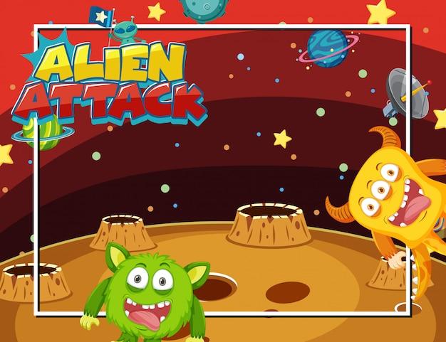 Quadro com alienígenas no espaço Vetor Premium