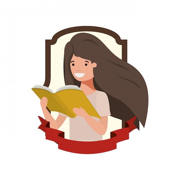Quadro com aluna e livro de leitura Vetor grátis