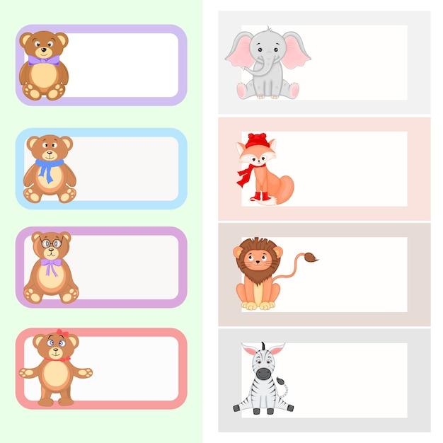Quadro com animais dos desenhos animados, ilustração de animais fofos Vetor Premium