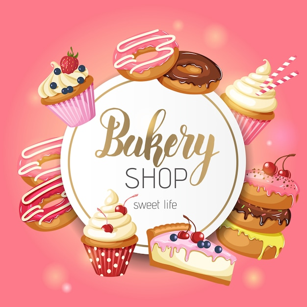 Quadro com donuts, cheesecake e cupcakes com cereja, morangos e mirtilos em rosa. Vetor Premium