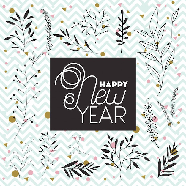 Quadro com feliz ano novo letras e grinalda coroa Vetor Premium
