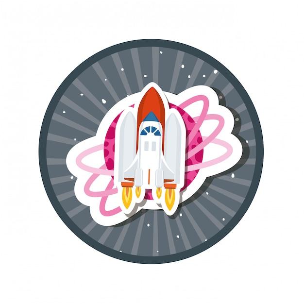 Quadro com foguete e planetas do sistema solar Vetor Premium