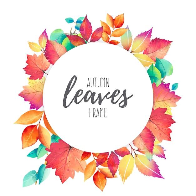 Quadro com folhas de outono coloridas Vetor grátis