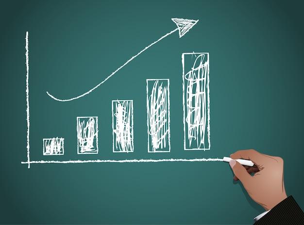 Quadro com gráfico de negócios de finanças Vetor Premium