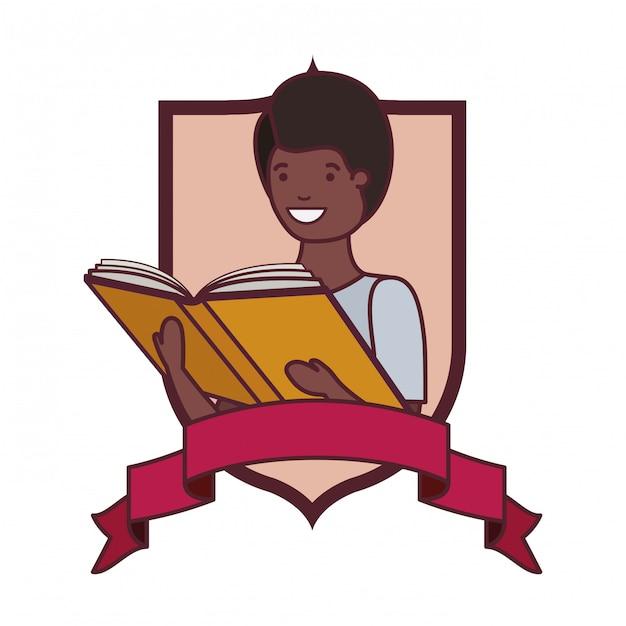 Quadro com menino estudante e livro de leitura Vetor grátis