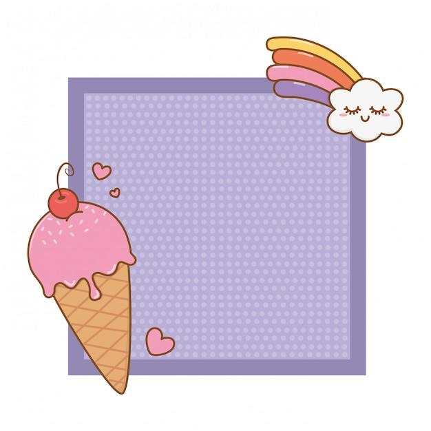 Quadro com sorvete e arco-íris Vetor Premium