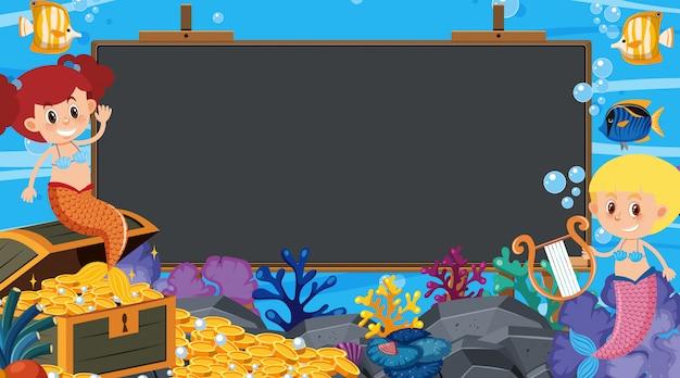 Quadro com tema subaquático no fundo Vetor Premium