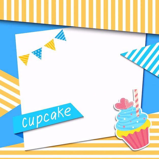 Quadro cupcake Vetor Premium